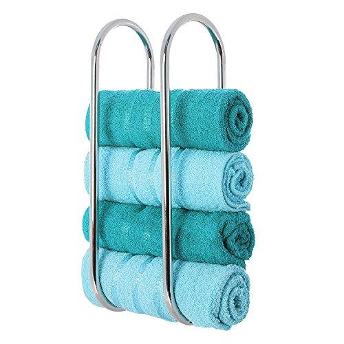 LIVIVO Fineway Wall Mounted Chrome Towel Holder Shelf Bathroom Storage Rack Rail-Made From Sturdy Steel With A Chrome Finish