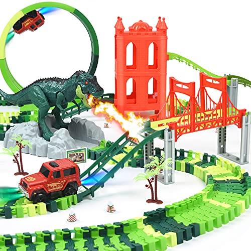Dinosaur Toys Race Track Set 239 PCS, Flexible Train Tracks with 1 elevator, 1 spray dinosaur, 1 Ferris wheel (360 Degree Rotation), 1 Bridge, 2 Electric Cars, Best Gift for kids Boys and Girls