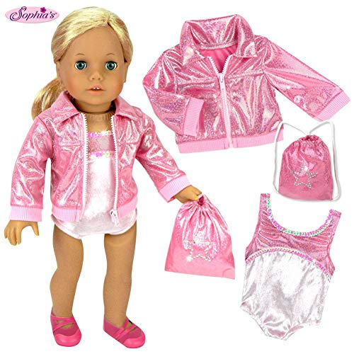 Sophia's Doll Clothing for 18 Inch Doll Gymnastics 3 Pc. Set Fits 18 Inch American Girl Doll Clothes & More! Pink Leotard, Jacket & Gym Bag in Pink Doll Sold Separately