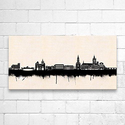 Kunstbruder Trier Skyline SW (div. Grš§en) - Kunst Druck auf Leinwand 40x80cm