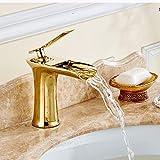 WJMLS 金滝浴室の流しのコックの単一のハンドル1つの穴のデッキの台紙の洗面所の台所の流しの蛇口台所の蛇口フル銅の金の浴室の蛇口