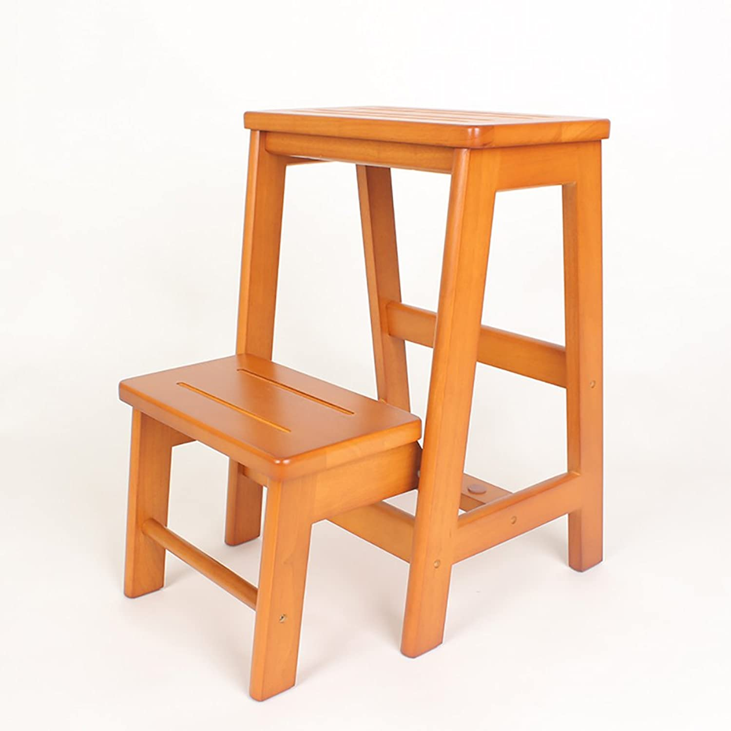 Ladders stools WSSF- Solid Wood 2 Step Stools Dual-use Folding Stairs Household Kitchen Stool Garden Tool DIY Safety Stepladder,3847.554cm (color   Honey color)
