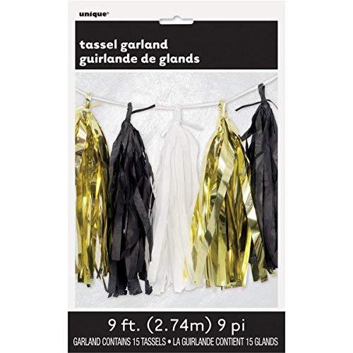 Unique Party 62951 - Guirlande de Glands en Papier de Soie - 2,74 m - Couleurs Noir, Blanc et Or