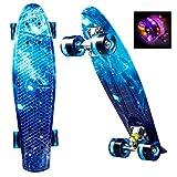 Smibie Skateboard Mini Cruiser 22'' de Plaques de Couleurs de Grande Variété et de Roues en Plastique Style Rétro