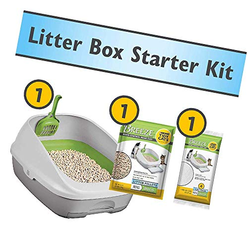 pellet cat litter boxes Purina Tidy Cats Litter Box System, Breeze System Starter Kit Litter Box, Litter Pellets & Pads (New Version)