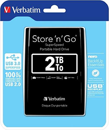 "Verbatim 53177 2To Store n Go USB 3.0 2.5"" HDD Ext - Noir"