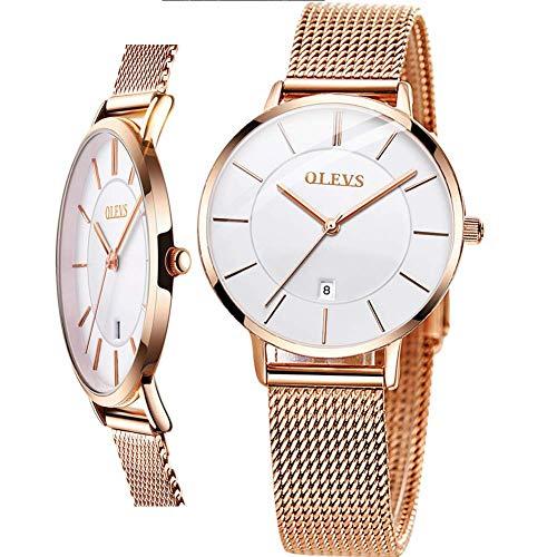 Reloj fino para mujer,Liquidación de relojes de oro rosa para mujer,Reloj delgado delgado reloj de cuarzo analógico reloj de dama fecha,Relojes de malla milanesa de acero para mujer,Mujer Simple