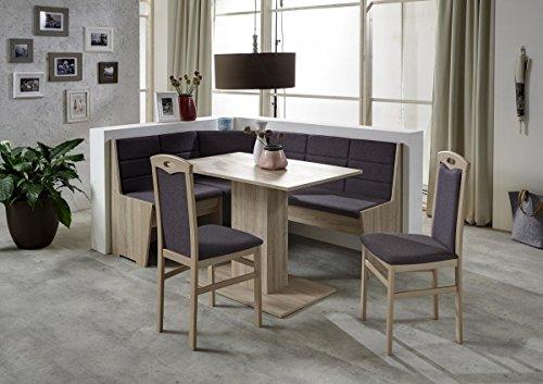 Beauty.Scouts Eckbankgruppe 'Tula' Essgruppe 165 x 125 x 82 Tisch 2 Stühle modern Sonoma Eiche Eckbank Küchentisch 4-teilig Landhaus Küche