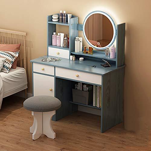 GCZ Tocador Mesa de Maquillaje con Espejo de Brillo Ajustable, Taburete Acolchado y Organizador de Maquillaje Gratuito Estilo Moderno, fácil Montaje, Escritorio, Escritorio, Muebles de Dormitorio