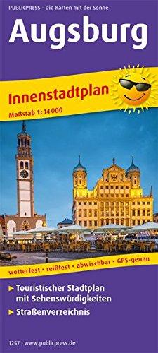Augsburg: Touristischer Innenstadtplan mit Sehenswürdigkeiten und Straßenverzeichnis. 1:14000 (Stadtplan: SP)