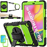 Samsung Galaxy Tab A 10.1 T510/T515/T517 Case, SEYMAC stock [Full-body] Drop &Shock-Proof Case with 360 Degrees Rotating Stand [Screen Protector] [Hand Strap] for Samsung Tab A 10.1 2019 (Green+Black)