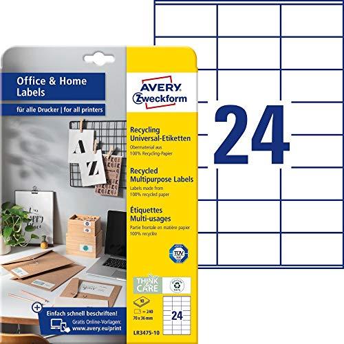 AVERY Zweckform LR3475-10 Recycling Etiketten (240 Adressaufkleber, 70x36mm auf A4, 100% recyceltes Altpapier, bedruckbare Adressetiketten, selbstklebende Klebeetiketten) 10 Blatt, naturweiß