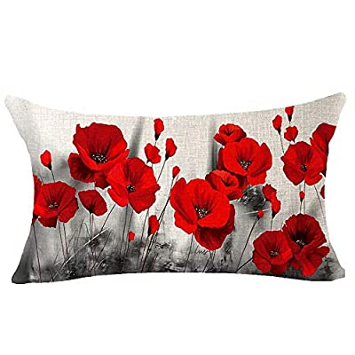 Andreannie Beautiful Charming Watercolor Oil Painting Ink Retro Red Poppy Cotton Linen Lumbar Throw Pillow Case Cushion Cover Decorative for Sofa Living Room Rectangle 12x20 Inches ¡ (14)