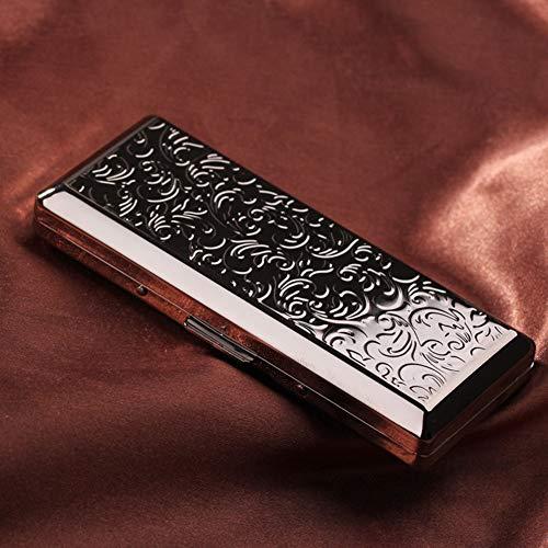 NACHEN Zigarettenetui Metal lZigarettenbox Damen Und Männer Und Frauen Verlängern Tragbare Ultradünne Zigaretten Schachteln,Black,108X46X20MM