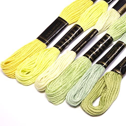 Paquete de hilo de bordado 100% algodón en tonos de verde claro
