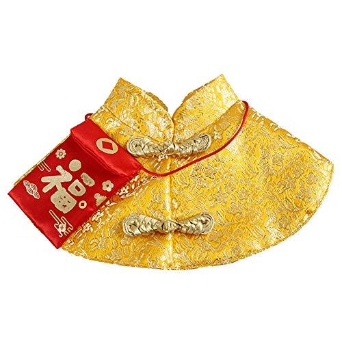 DishyKooker Haustier Kleidung Neujahr Umhang Chinesische Tang-Dynastie Kostüm mit rotem Umschlag für Katze Hund violett