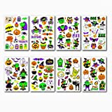 KUATAO Tatuajes temporales de Halloween para niños, Resplandor en la Oscuridad Halloween Tatuajes Pegatinas 8 Hoja, Fiesta de Halloween Favores Favores Suministros Decoraciones para niños Niñas