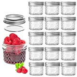 LEQEE 4 oz 16 PACK Regular Mouth Mini Mason Jars with Lids and Bands,Quilted Crystal Jelly...