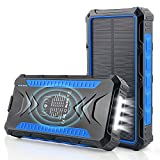 Solar Power Bank 36000mAh, Qi Wireless Charger, DJROLL Portable Solar Charger with Dual USB & Type-C Port 5V/3A Output, IP66...