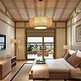 Bamboo Lantern Pendant Lamp, Retro Japanese Style E27 Chandelier Hanging Light Ceiling Lighting Fixture for Living Room Bedroom Restaurant Cafe Teahouse Bar Dining Room Club (24 Inch)