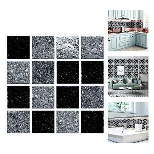 ConBlomi Fliesenaufkleber, DIY Selbstklebende Wandfliese Aufkleber, 30 Stück Mosaikfliesen Folie Fliesensticker Bad und Küche Deko Fliesenfolie,10x10cm (MSC066)
