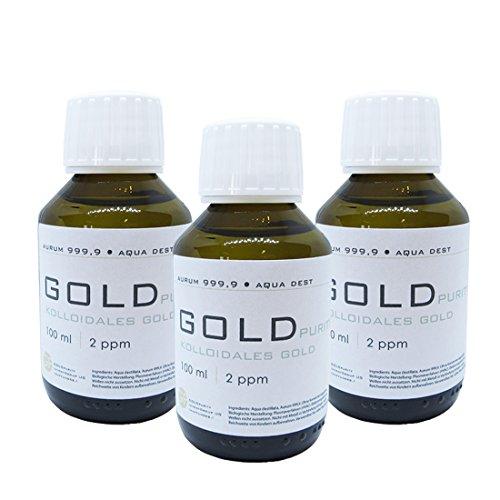 Preisvergleich Produktbild Kolloidales Gold 3x 100ml / 2ppm Flasche Braunglas Originalitätsverschluss pure