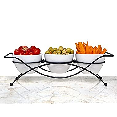 Elegant 4-piece Relish Tray with White Ceramic Bowl. Server Set with Metal Rack. Buffet Server for Candy, Nuts and Dips.