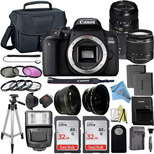 Canon EOS 800D / Rebel T7i DSLR Camera with 24.2MP Sensor, EF-S 18-55mm & Tamron AF 70-300mm Lens Kit, 2 Pack SanDisk 32GB Memory Cards + ZeeTech Accessory Bundle