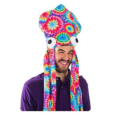 Funny Party Hats Tie Dye-Kalmar-Hut - Aufmaß Tintenfisch-Hut in Regenbogenfarben Einheitsgröße EIN Tie Dye-Kalmar-Hut