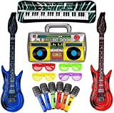 SAVITA 10 Piezas Juego de Juguetes de Estrella de Rock Inflable Guitarra Inflable Accesorios de Fiesta de Piano para Tema de Concierto Decoraciones de Fiesta Favores Color Aleatorio