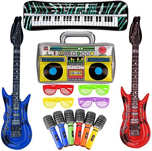 SAVITA 10 Piezas Juego de Juguetes de Estrella de Rock Inflable Guitarra...