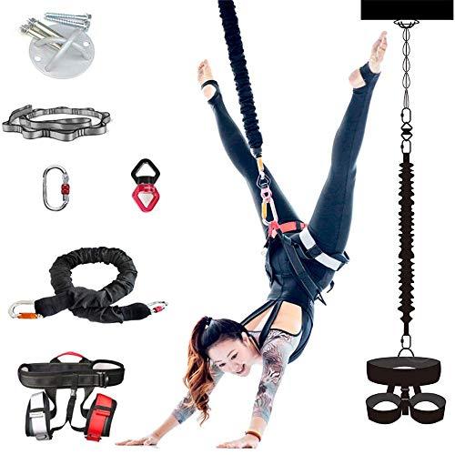 TRF Yoga Bungee-Seil, Air Yoga Stretch-Gürtel mit Widerstand Gürtel und alle Anderen Zubehör - Gravity Trainingsgerät für Home Gym Fitness, Männer und Frauen