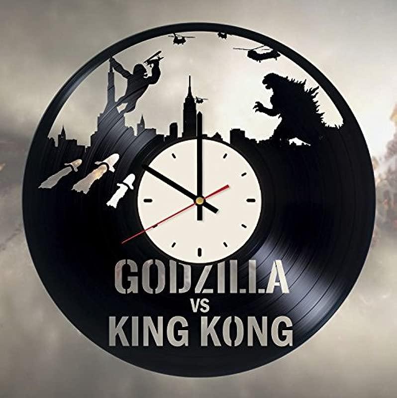 Godzilla Vs Kong Vinyl Wall Clock Monsters Unique Gifts Living Room Home Decor