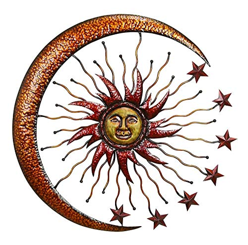 Bellaa 20025 Eclectic Celestial Metal Wall Decor Sun Moon Star Outdoor Garden Patio Porch Hanging Sign Wall Plaque Sunburst Art 36 inch Copper Gold Best