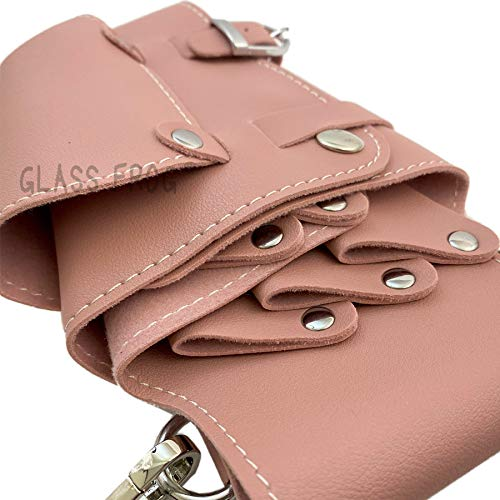 【GLASSFROG】シザーケース5丁挿しPUレザー美容師トリマー(ピンク)
