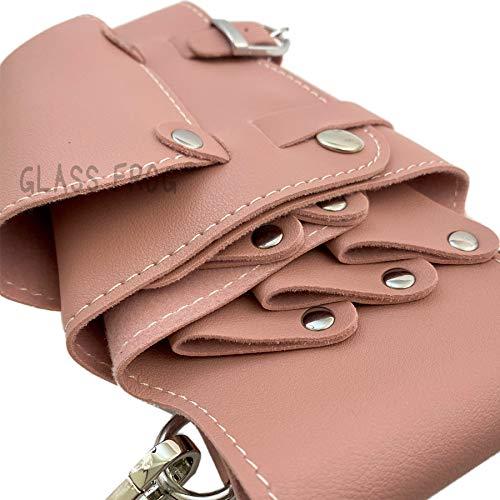 【GLASSFROG】シザーケース5丁挿しPUレザー予備ベルト付美容師トリマー(ピンク)