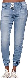 Colore Solido Jeans A Vita Media, Retro e Eleganti Denim Pantaloni Comode Elastico in Vita Pantaloni con Tasche Donna Tagl...