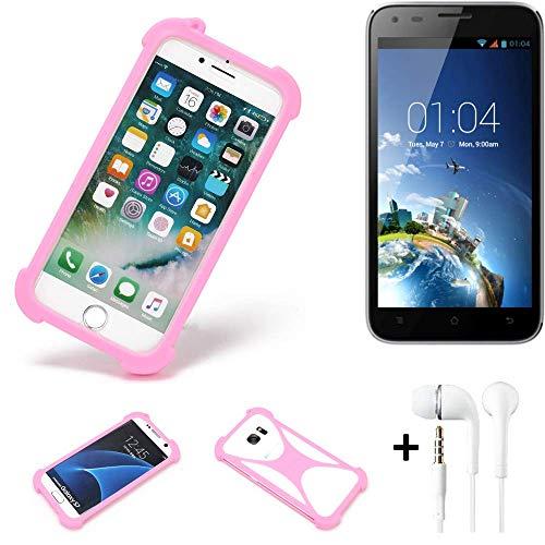 K-S-Trade Bumper + Kopfhörer Kompatibel Mit Kazam Trooper X5.0 Handyhülle Schutzhülle Silikon Schutz Hülle Cover Case Silikoncase Silikonbumper TPU Softcase Smartphone, Pink (1x)