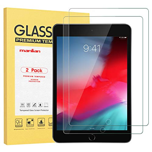 Manlian Screen Protector for Apple iPad mini 5 (2019) and iPad Mini 4, (2-pack) with [Hd-clear] [Anti-Scratch] [Anti-Fingerprint] [9H-Hardness] Premium Tempered Glass Screen Protector.