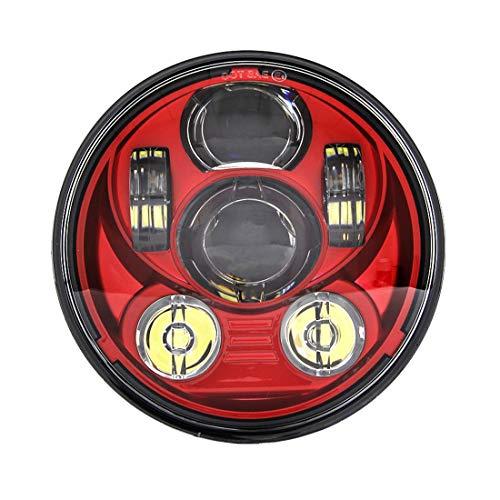 SKUNTUGUANG Rot 5,75 Zoll Runde Led Scheinwerfer für Motorrad Harley Davidson XL 1200C, rot