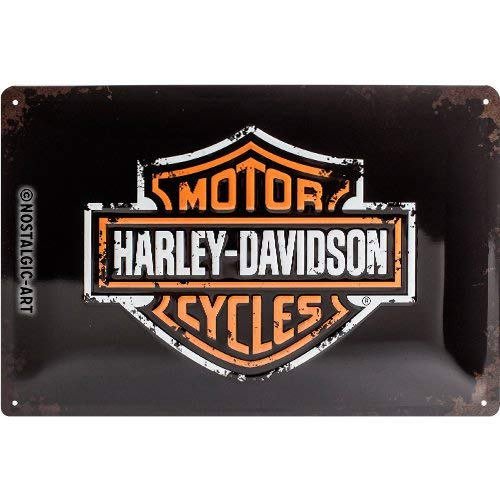 NART Plaque 3D métal Logo Harley Davidson, Fond Noir, 20 x 30 cm