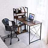 Computer Desk with Storage 4-Tier Shelves, SIMBR 47'' Home Office Desk with Adjustable Bookshelf, Modern Simple Style Writing Study Desk for Bedrrom Small Corner, Easy to Assemble