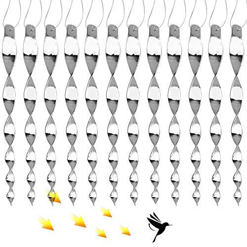 Sporgo Reflektierende Vogelschreck,12 Stück Reflektierende Windspirale Vogelabwehr zur Vogel abwehr Garten Halten Sie Vögel Weg von Ihrem Haus,Abwehr von Vögeln Dekoration Ideal für Haus & Garten