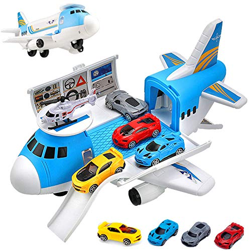Airplane Toy Car Play Set with Transport Cargo and 4pcs Vehicle Car Toy for 3 4 5...