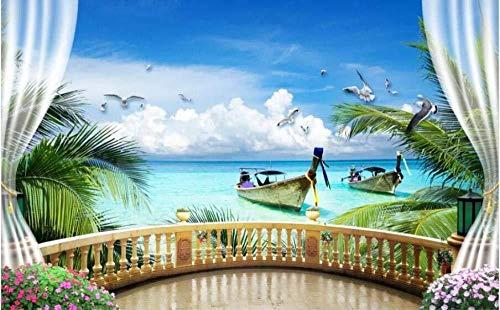 Behang 3D muurbehang, muurbehang, kokosboom, meubels, buiten, voor woonkamer, sofa, tv, wand, slaapkamer, behang (W)200x(H)140cm (W)200x(h)140cm