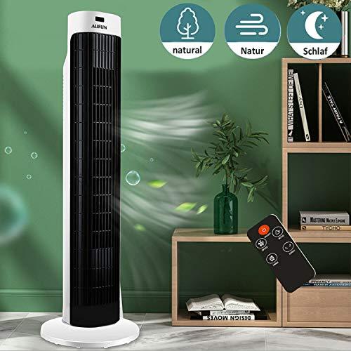 UISEBRT Turmventilator mit Fernbedienung 60W - Standventilator mit Oszilation, Säulenventilator mit Geschwindigkeiten, Timer