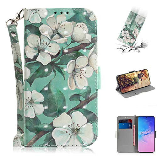 Nadoli Galaxy S10 Lite Lederhülle,3D Bewirken Magnetverschluss Kartenfach Standfunktion Pu Leder Flip Schlanke Brieftasche Schutzhülle Handyhülle für Samsung Galaxy S10 Lite,Grün Blumen