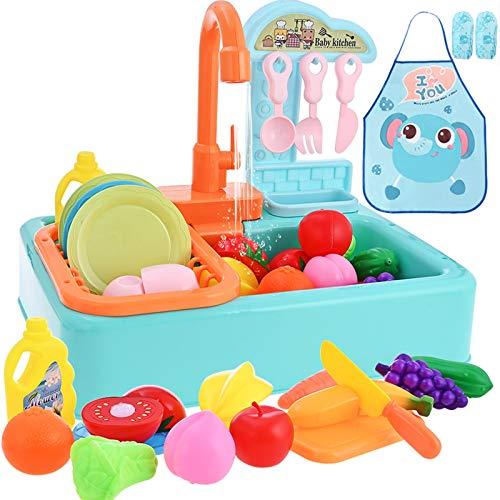 GOLDGE Fregadero Cocina Juguete para Niños, Cocina Conjunto de Juguete para Lavar Platos Accesorio Juego de Simulación de Juguetes, Baterías No Incluidas