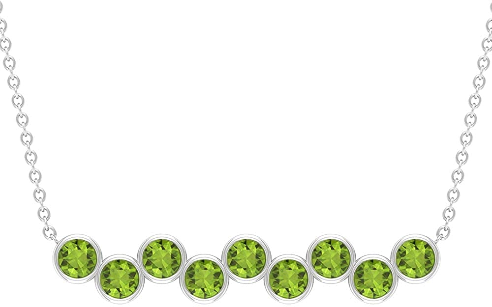 1 CT Horizontal Pendant Necklace 9 Stone 70% OFF Outlet Peridot Denver Mall with