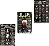UNIQUELOVER Bar Decor, Hangover Cure, Shots, Beer Retro Vintage Metal Tin Signs for Home Bar Decor...